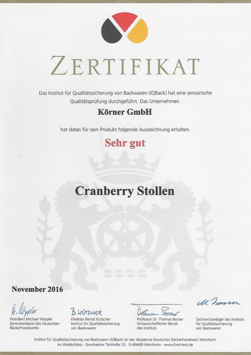 2016 Zertifikat Cranberrystollen