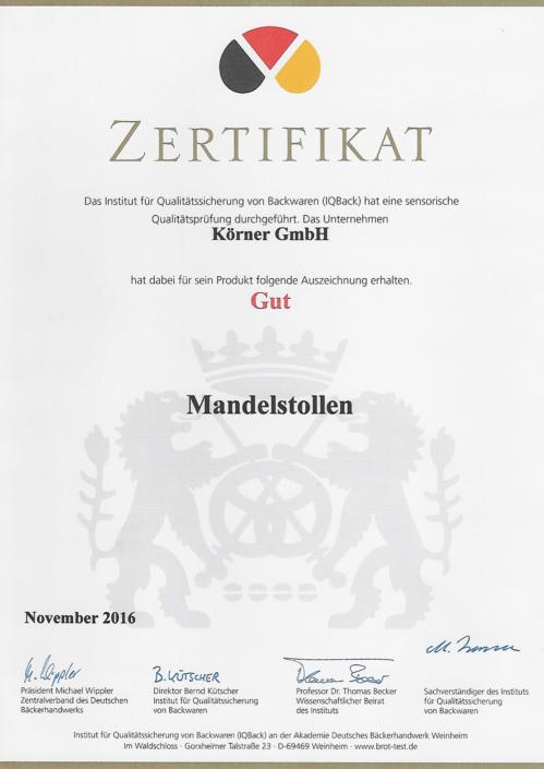 2016 Zertifikat Mandelstollen