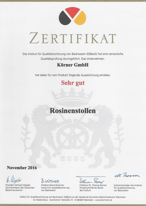 2016 Zertifikat Rosinenstollen