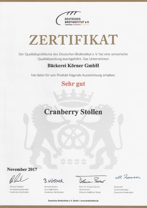 2017 Zertifikat Cranberry Stollen