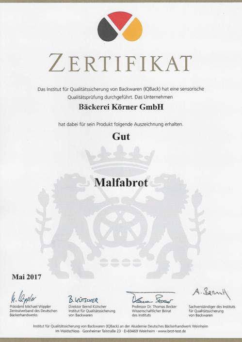 2017 Zertifikat Malfabrot