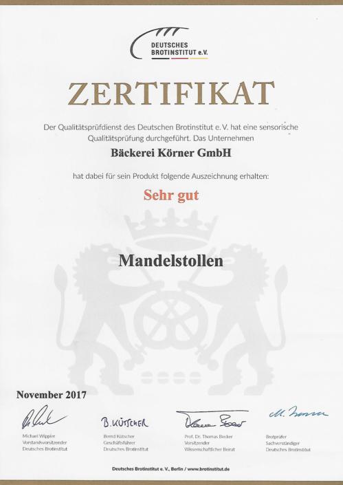 2017 Zertifikat Mandelstollen