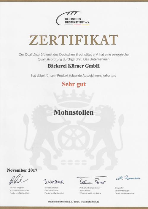 2017 Zertifikat Mohnstollen