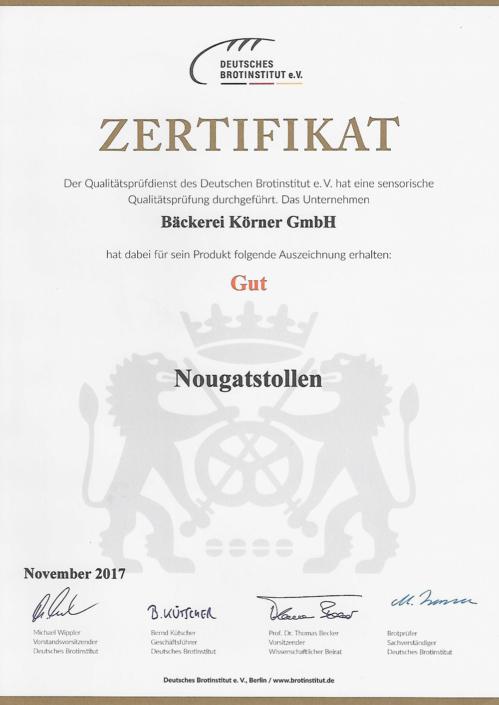 2017 Zertifikat Nougatstollen