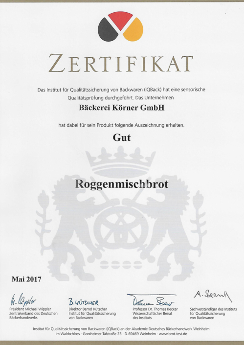 2017 Zertifikat Roggenmischbrot