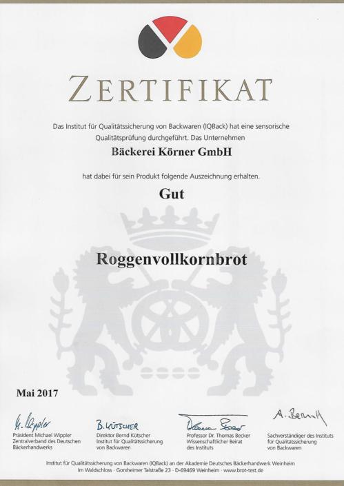 2017 Zertifikat Roggenvollkornbrot
