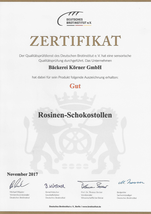 2017 Zertifikat Rosinen-Schokostollen