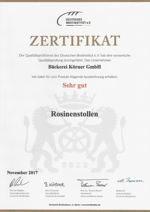 2017 Zertifikat Rosinenstollen