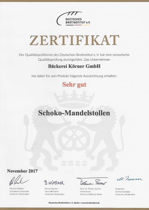 2017 Zertifikat Schoko-Mandelstollen