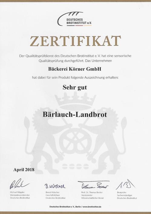 2018 Zertifikat Bärlauch-Landbrot