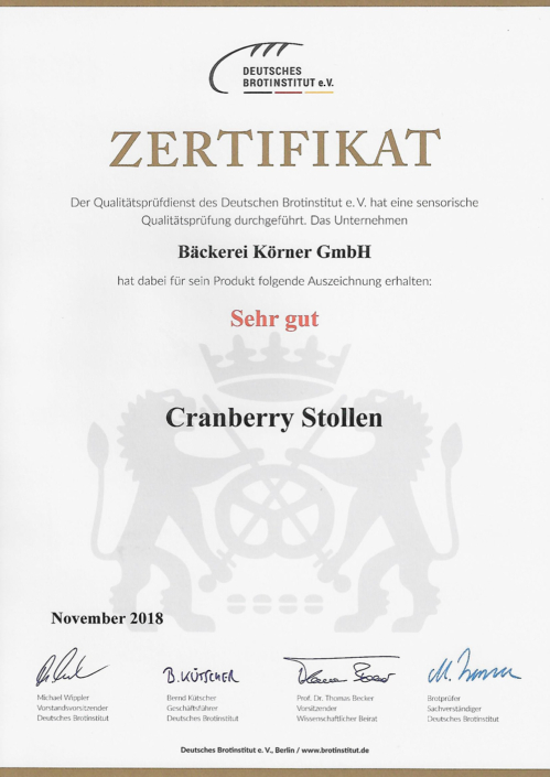 2018 Zertifikat Cranberrystollen