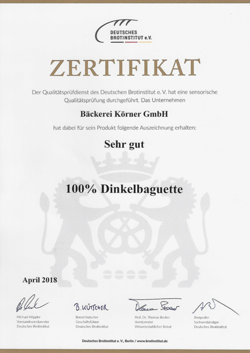 2018 Zertifikat Dinkelbaguette