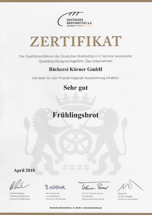 2018 Zertifikat Frühlingsbrot