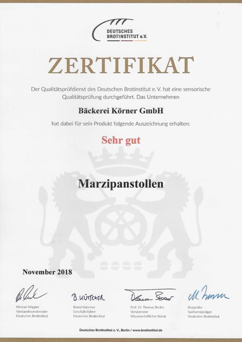 2018 Zertifikat Marzipanstollen