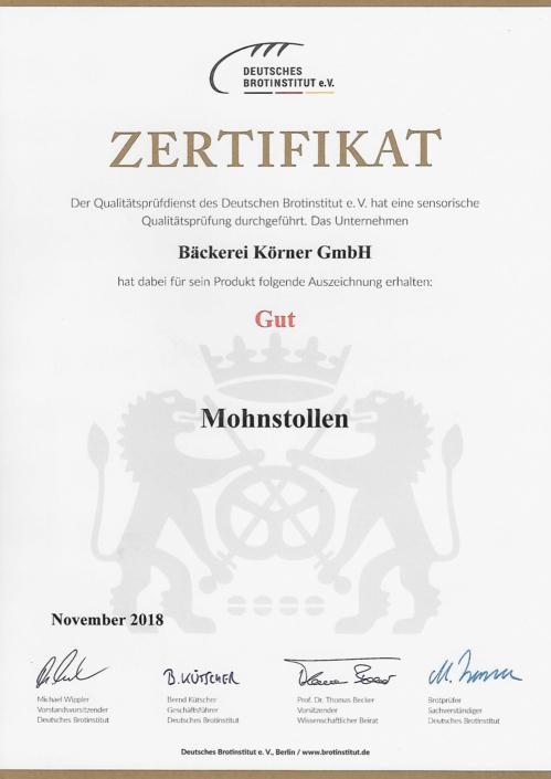 2018 Zertifikat Mohnstollen