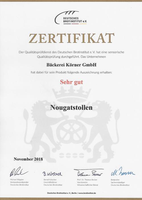 2018 Zertifikat Nougatstollen