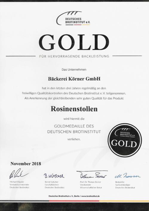2018 Zertifikat Rosinenstollen