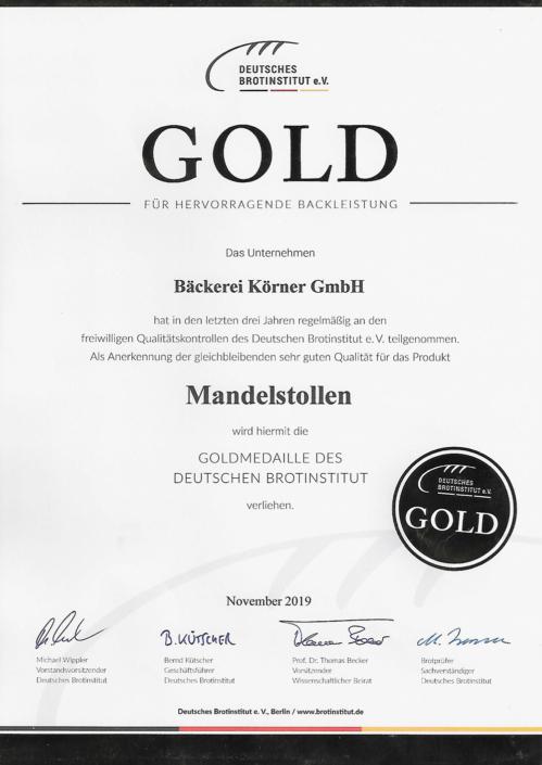 2019 Zertifikat Mandelstollen