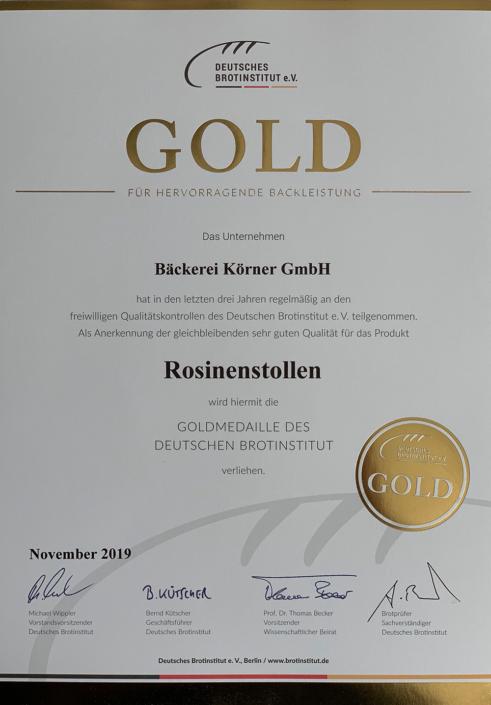 2019 Zertifikat Rosinenstollen