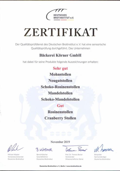 2019 Zertifikat Stollen