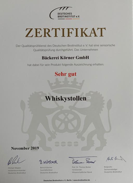 2019 Zertifikat Whiskeystollen