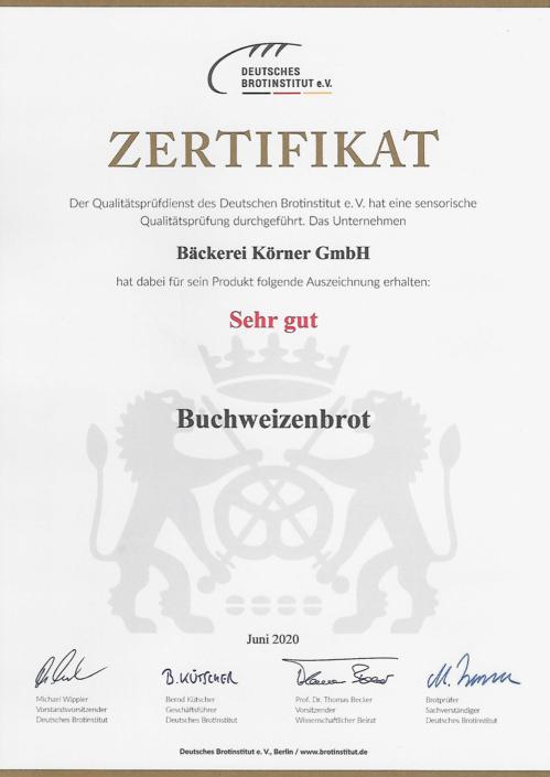 2020 Zertifikat Buchweizenbrot