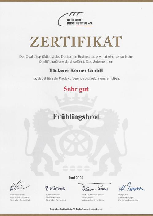 2020 Zertifikat Frühlingsbrot