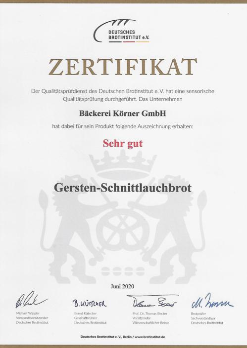 2020 Zertifikat Gersten-Schnittlauch