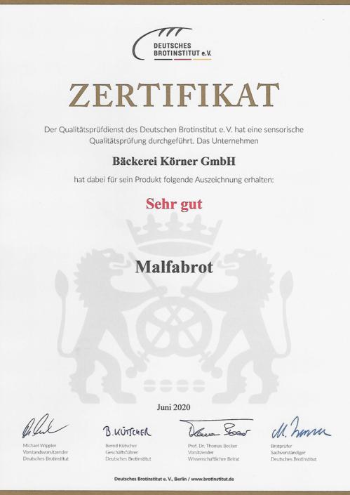2020 Zertifikat Malfabrot