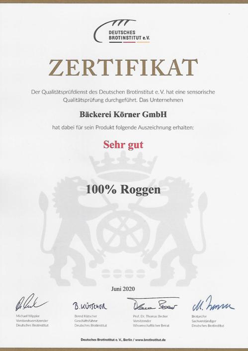 2020 Zertifikat 100% Roggenbrot