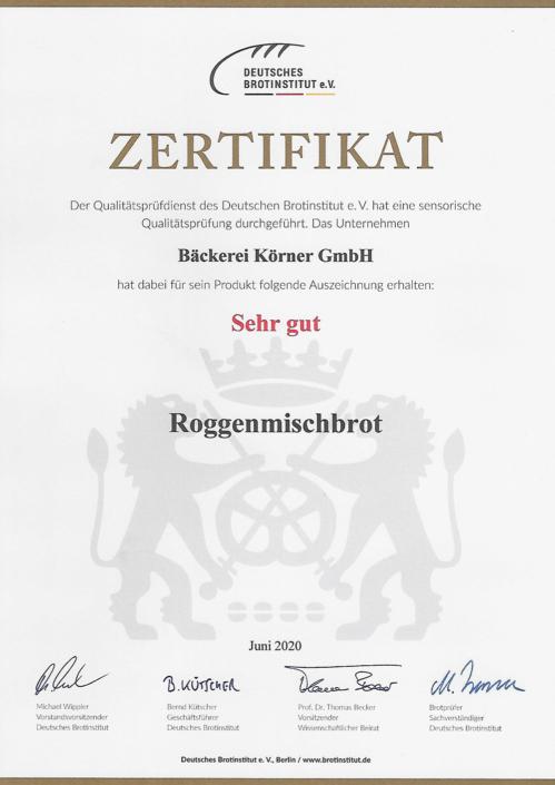 2020 Zertifikat Roggenmischbrot