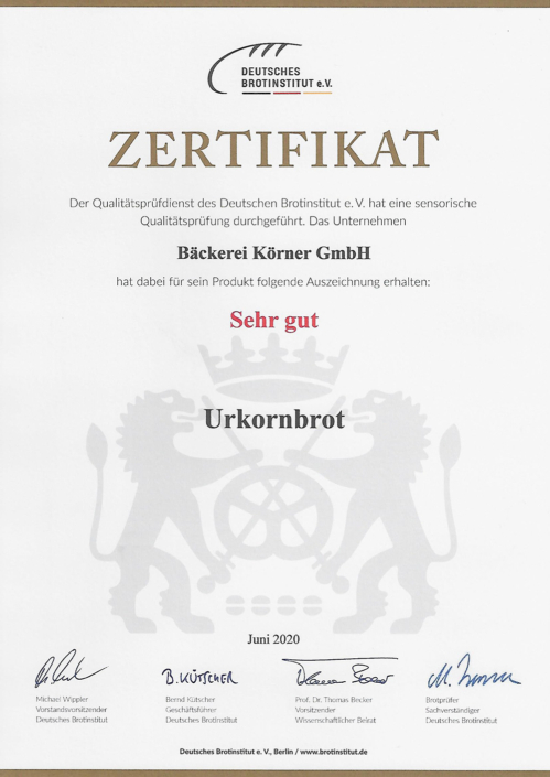 2020 Zertifikat Urkornbrot